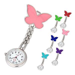 NEUE-Maedchen-Pocket-Watch-Clip-on-Fob-Brosche-Anhaenger-haengend-Butterfly-Uhr