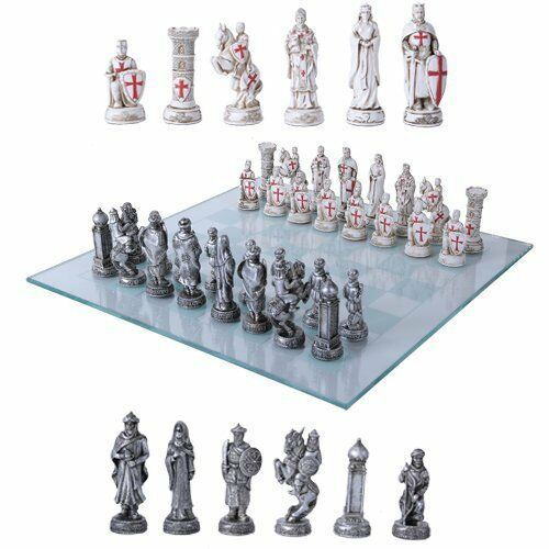 Crusader Christian Kingdoms VS Muslim Ottoman Empire Resin Chess Pieces With Gla
