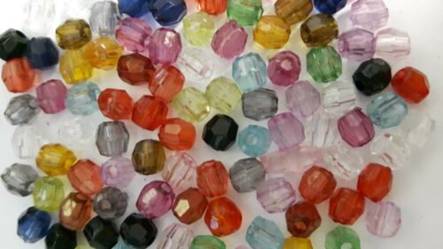 K5221 50g Acrylic Plastic Faceted Round Beads 4mm
