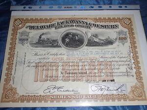 04 : histor. Wertpapier , Eisenbahn Aktie , USA , 1955 , Delaware ...& Western