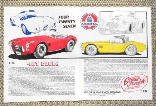 CARROLL SHELBY AMERICAN FORD 427 COBRA ROADSTER CAR LITERATURE FACT SHEET 25