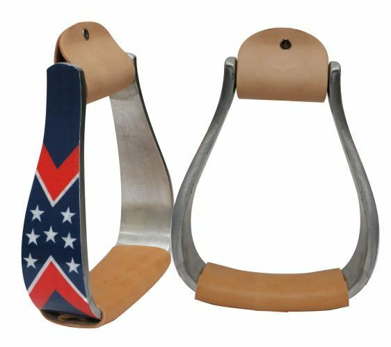 Showman Reflective STARS & STRIPES Red White & blueee 5.5  Wide ALUMINUM Stirrups