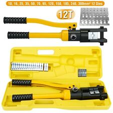 12 Ton Hydraulic Wire Battery Cable Lug Terminal Crimper Crimping Tool 12 Dies