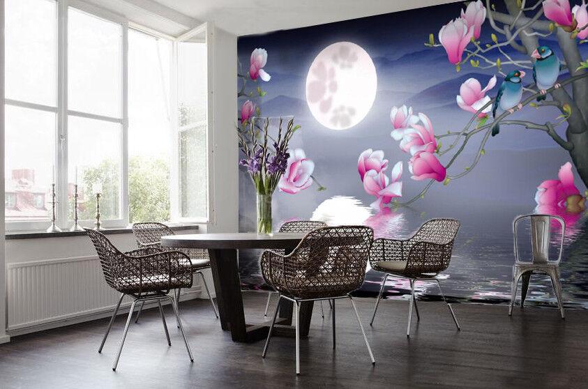 3D Moon Flower Birds 7 Wall Paper Murals Wall Print Wall Wallpaper Mural AU Kyra