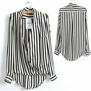 Women ol lady black and white striped chiffon blouse tops for Black and white striped long sleeve shirt women