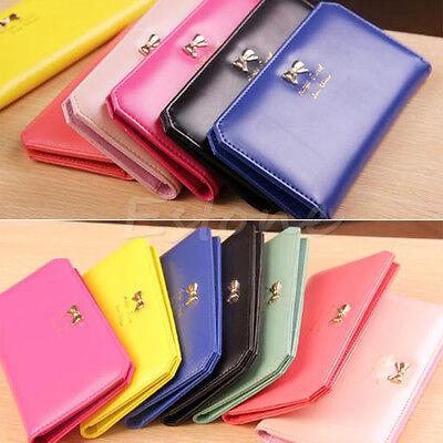 Fashion Women's PU Leather Bowknot Wallet Clutch Holder Long Card Purse Handbag