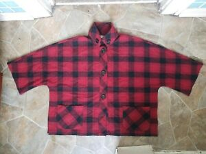 Coldwater-Creek-Large-Wool-Blend-Black-Red-plaid-cape-coat