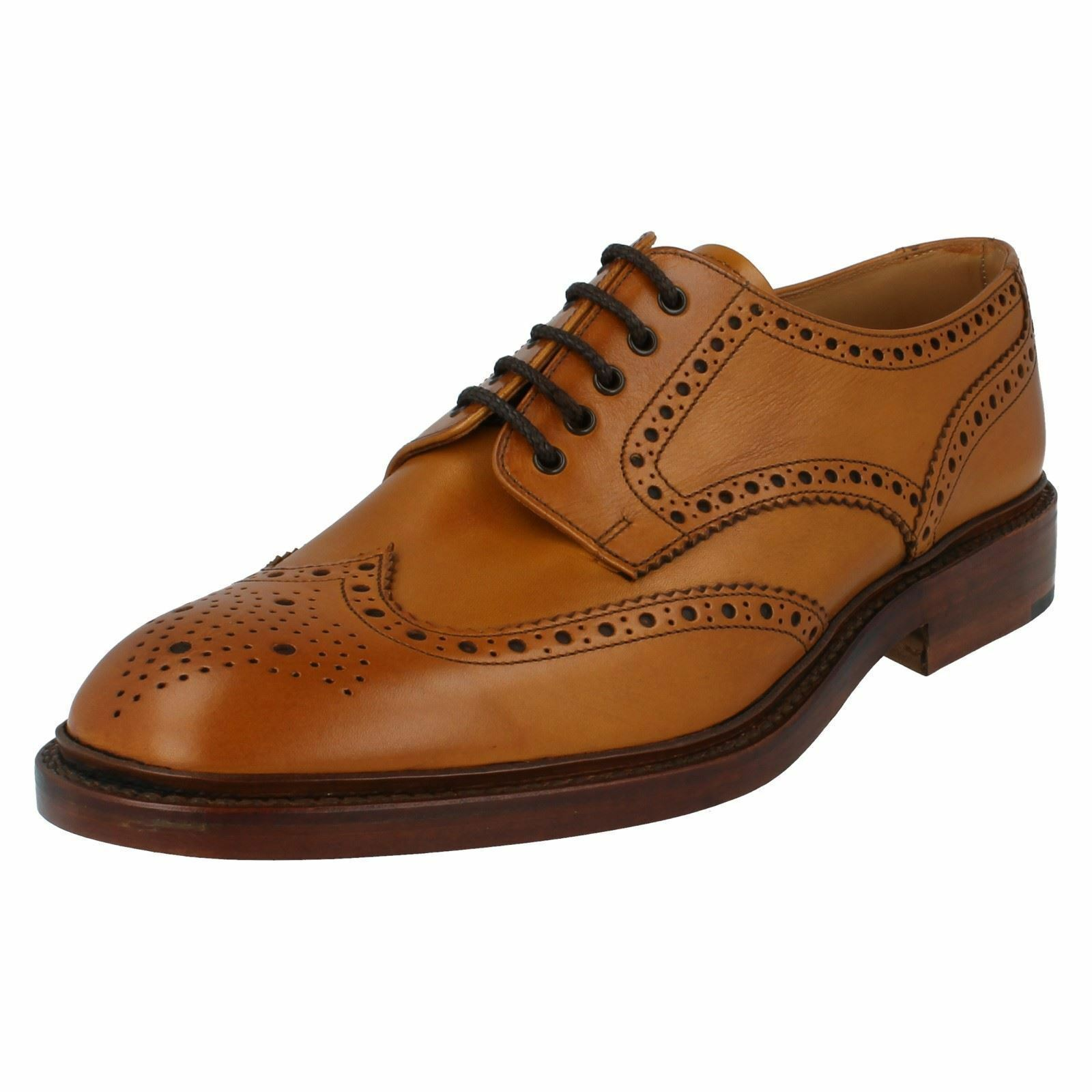 Mens Loake Chester 2 Tan Leather Formal Brogue Lace Up shoes F Fitting