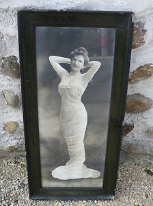 Antique-Large-Frame-Wood-Photo-Woman-Dress-of-Evening-Vintage-French