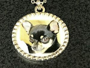 Dog-Chihuahua-Black-amp-Brown-Charm-Tibetan-Silver-with-18-034-Necklace-A1-BIN