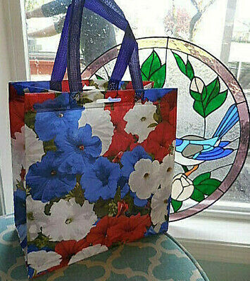 ❤️ Patriotic 4th July red white blue PETUNIA Reusable Shopping chic Tote Bag ❤️