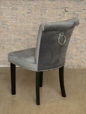Grey Velvet Studded Dining Occasional Bedroom Chair Chrome Back Ring Knocker
