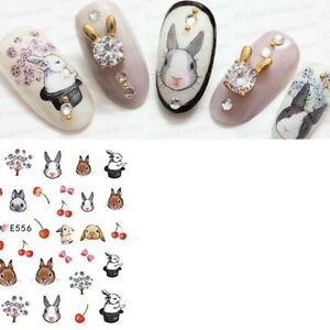 Nail-Art-Decals-Stickers-Transfers-EASTER-Bunny-Rabbits-Bows-Flowers-Cherry-E556