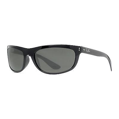 Ray Ban RB 4089 601/58 62mm Balorama Shiny Black Polarized Wrap Sunglasses