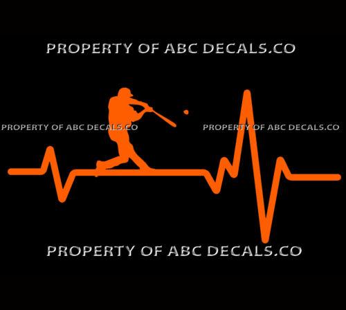 VRS Heart Beat Line Baseball Hitter Home Run Swing Male CAR VINYL DECAL