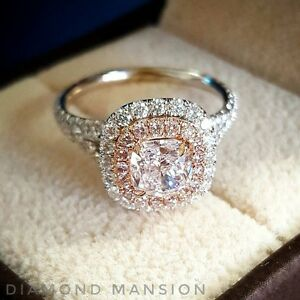 Pink Diamond Ring >> Details About 1 70ctw Cushion Cut Double Halo Split Shank W Pink Diamonds Engagement Ring Gia