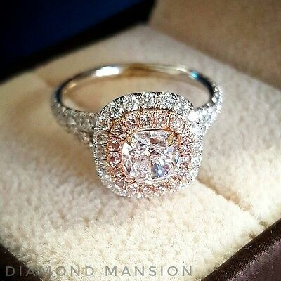 1 70ctw Cushion Cut Double Halo Split Shank W Pink Diamonds Engagement Ring Gia Ebay
