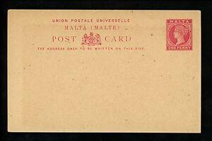 Postal Stationery H&G #1 Malta postal card 1884 Vintage