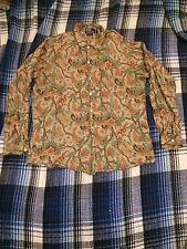 Ralph Lauren Vintage Asian Flower Linen Shirt L Hippie Psychedelic Polo Ethnic