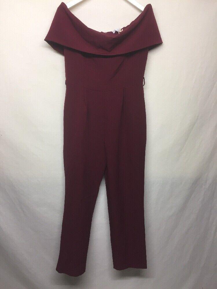 Vanessa Zani Burgundy Sleeveless Scoop Neck Jumper Dress Made in  Größe M