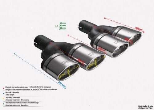 Duplex Auspuffblenden N2-10-1//60 oval Endrohre Doppelendrohre Set Anschluß 60mm