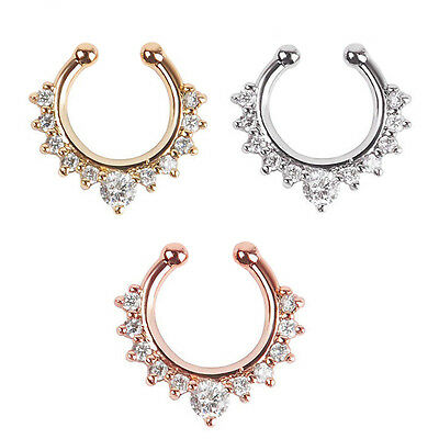 Fashion Fake Septum Clicker Nose Ring Non Piercing Hanger Clip On Jewelry JU