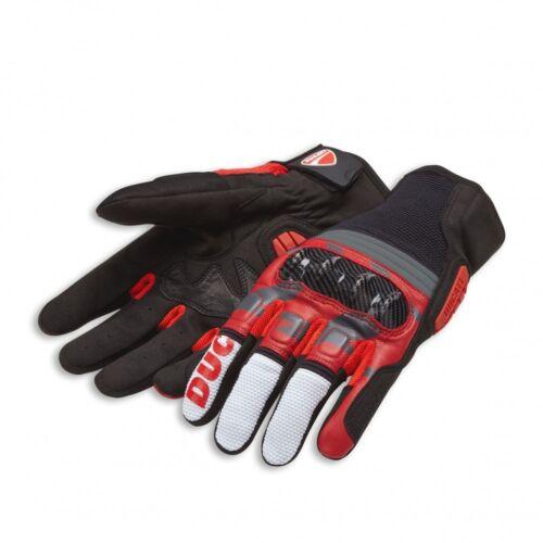 DUCATI SPIDI All Terrain c2 Pelle Tessile Guanti Gloves Nero Rosso Nuovo!!!