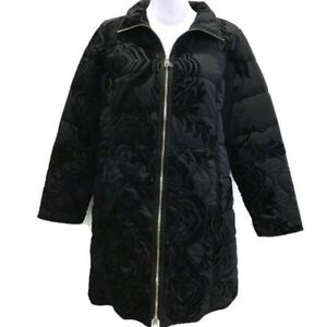 Chicos-Womens-Sz-2-Jacket-Black-Quilted-Knee-Length-Zip-Velvet-Details-Sz-12-14