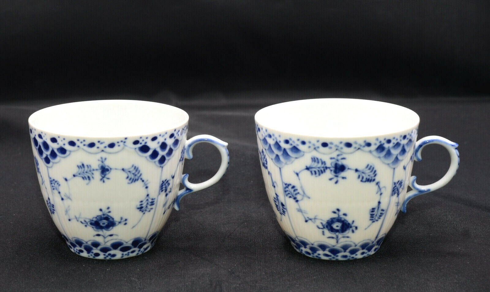 4 Coffee Cups Saucers Royal Copenhagen Blue Fluted Full Lace 4 Factory  4st