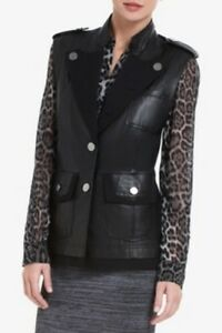 M Leather New Vest Black Mark Bcbg Military Lug4d991 Size Maxazria Jacket qwxwvB6TI