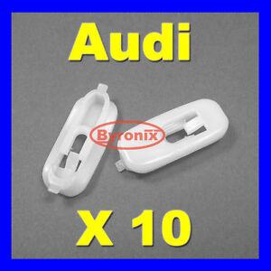 AUDI-A4-S4-Puerta-Inferior-Parte-Inferior-Tira-De-Moldeo-Recorte-clips-de-plastico-blanco-x-10