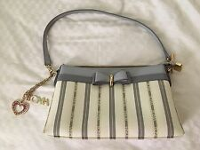 Designer BONIA Striped Cream Gray Ribbon Cute Small Handbag Purse Satchel