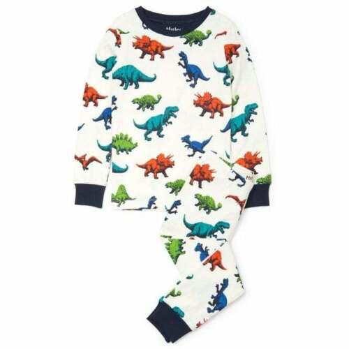 Hatley coton organique pyjamas Dino troupeau Imprimé avec Marine Poignets Et Col