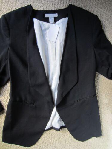 H a con da taglia 42 donna Blazer nera Nwt Eur a lunga Us scatti manica 12 collo m Yv8nxqwHA