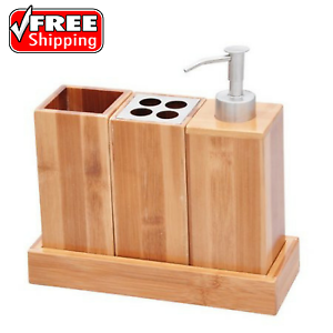3 piece bathroom accessory set natural bamboo bath caddy for Bathroom countertop accessories sets