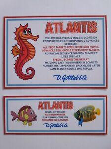 * * 'ATLANTIS' Gottlieb 1975 Custom Instruction/Apron Cards * * (New)