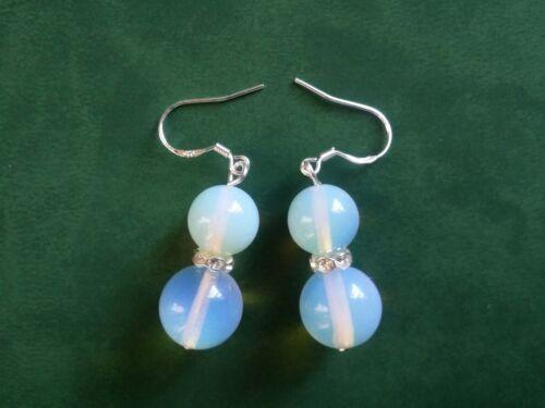 8-10 mm Belle Opale Blanc Perles Rondes Dangle Silver Hook Earrings PE63