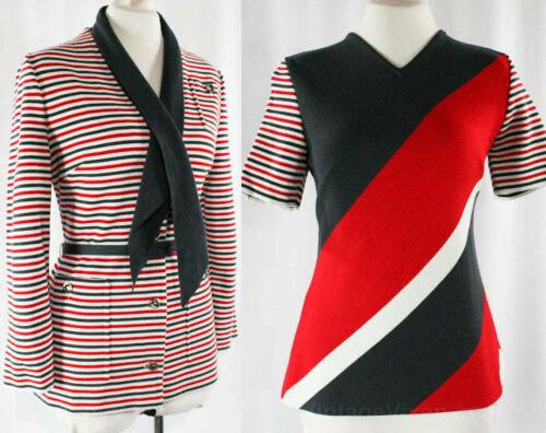 Size 10 Striped Mod 60s Suit Italian 4Pc Blazer Ja