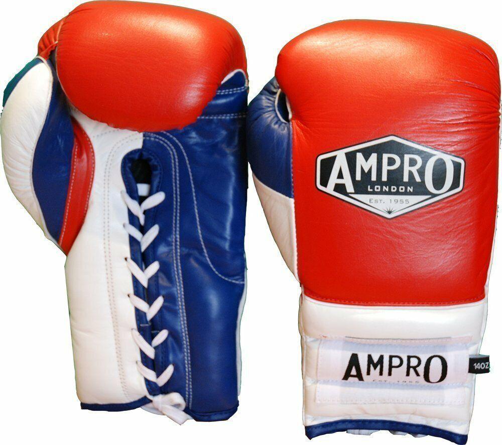 AMPRO Mirage V2 Professional Lacci Sparring GuantiRossoBiancoMarina