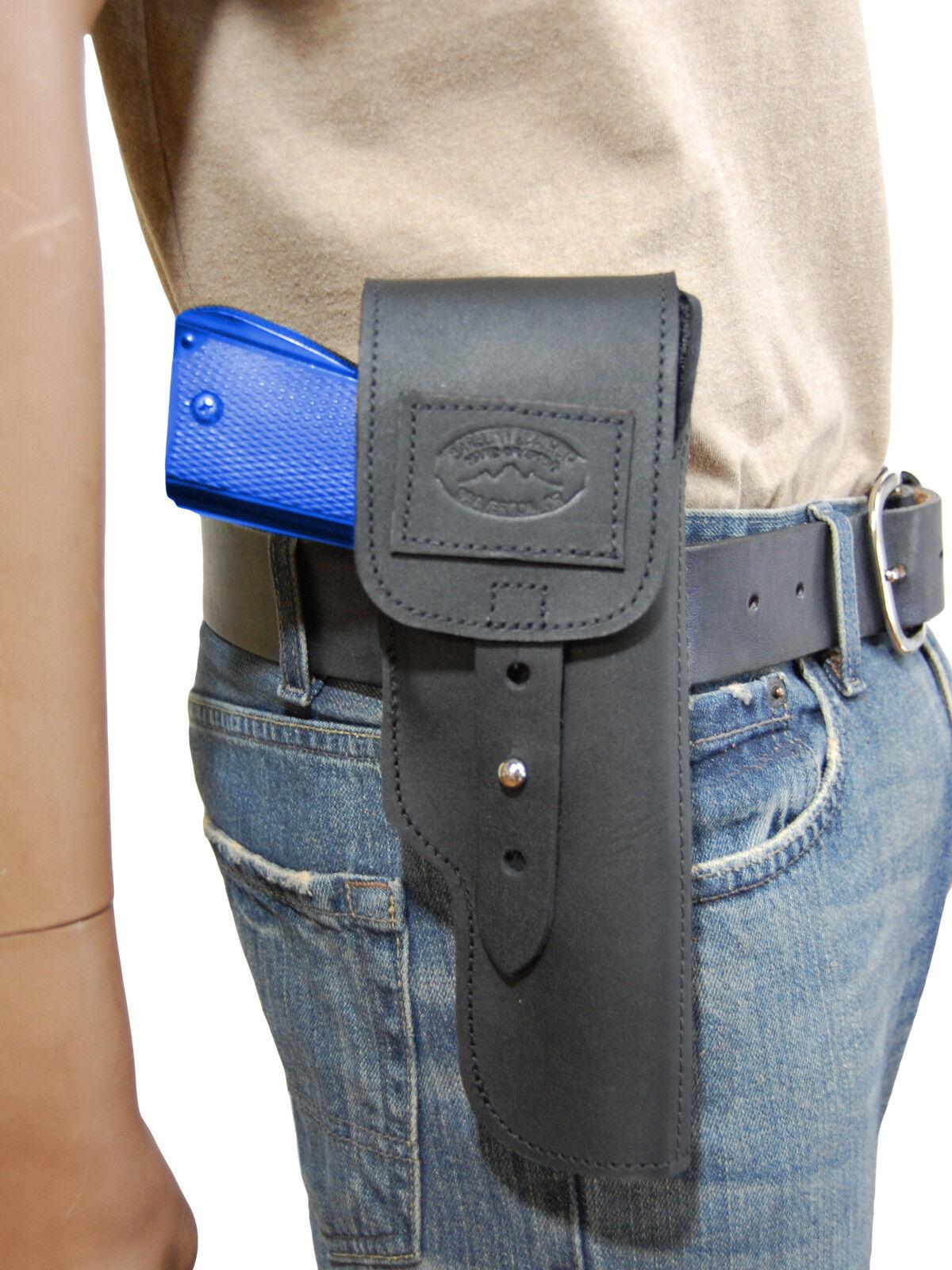 Nuevo barsony Negro Solapa De Cuero Funda Pistola marróning Para Colt de tamaño completo de 9 mm 40 45
