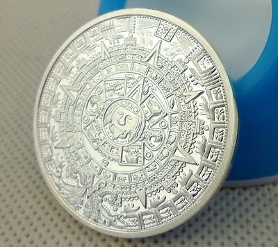 Mayan Aztec Calendar Stone Medallion GOLD-PLATED Clear Plastic Case