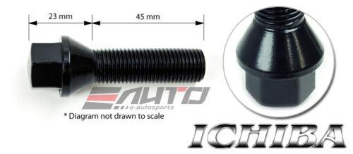 10x 45mm ICHIBA 14x1.5 M14 P1.5 WHEEL RIM EXTEND LONG LUG BOLT TAPER BLACK c