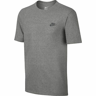 Details about Nike Mens Core Embroidered Futura Club Crew T Shirt Casual RED OLIVE GREY