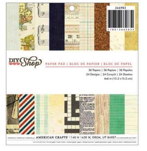 "24 Designs  ~366983 American Crafts 6/"" x 6/"" Paper Pad ~ DIY SHOP ~ 36 Count"
