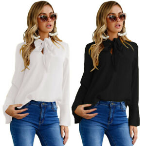 Women-Solid-Long-Sleeve-Tops-Pussy-bow-Chiffon-Blouse-Office-OL-Casual-Blouse