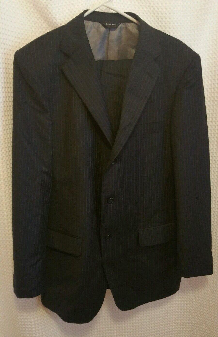 Lineage Navy Blau Pinstripe Wool 38R 3 Button Jacket & Pants 32R 2 Piece Suit