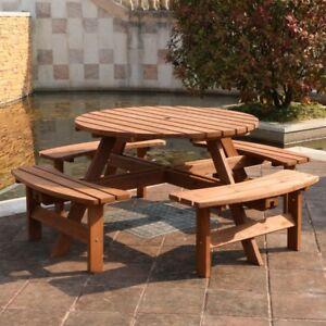 Awesome Ashwell Wooden Outdoor Garden Circular Pub Patio Picnic Home Interior And Landscaping Ponolsignezvosmurscom
