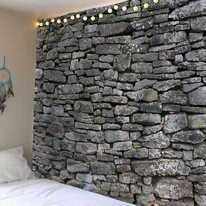 Neu-Modern-3D-Stein-Brick-Tapisserie-Wandbehang-Haus-deko-Wohnkultur-Tagesdecke