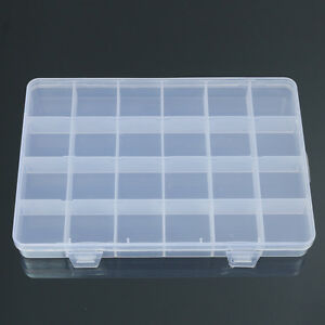24 Compartments Plastic Box Case Jewelry Bead Storage Container