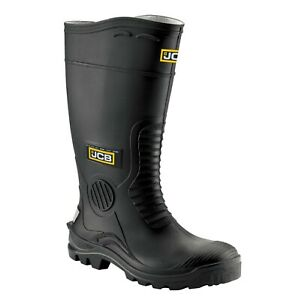 JCB Hydro-master Wellington Safety Work Boots Wellies Steel Toe Waterproof Black